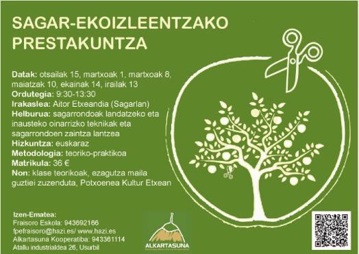 El 30 de octubre, curso sobre la Gestión de la sanidad en manzano ecológico en la sidrería Iparragirre.