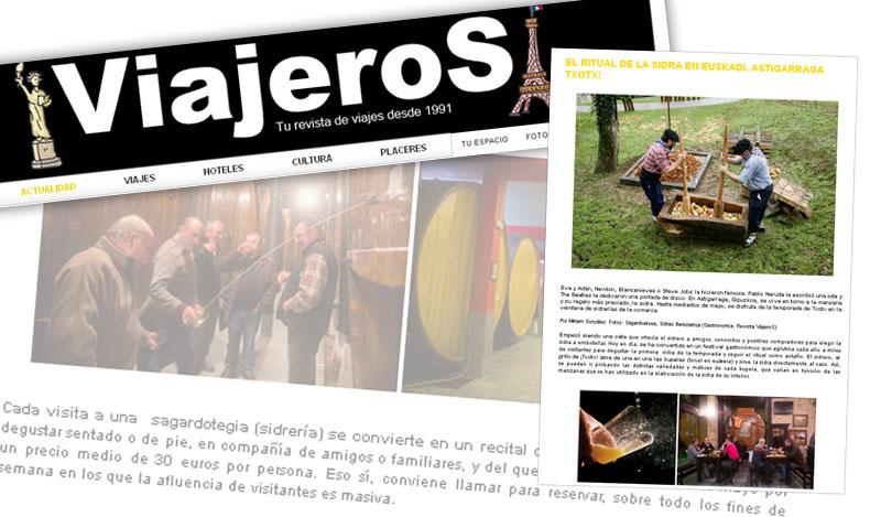 Revista Viajeros: «El ritual de la sidra en Euskadi. Astigarraga. Txotx!».