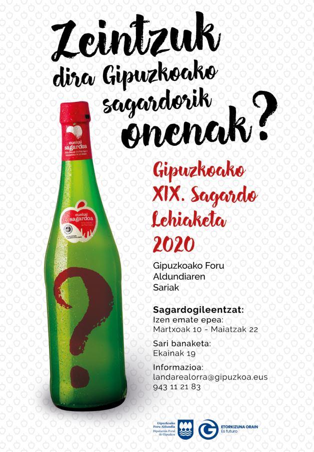 """""""XIX. Sagardo Lehiaketa. Gipuzkoako Foru Aldundia Sariak"""" deialdia"""
